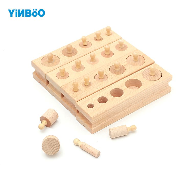 Wooden toys Montessori Educational Cylinder Socket Blocks Toy Baby Development Practice and Senses