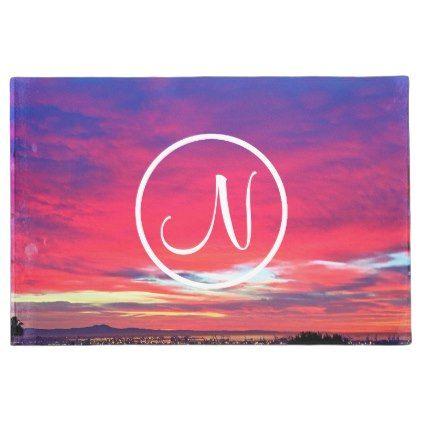 #Hot pink sunrise photo custom monogram doormat - #doormats #home & #living