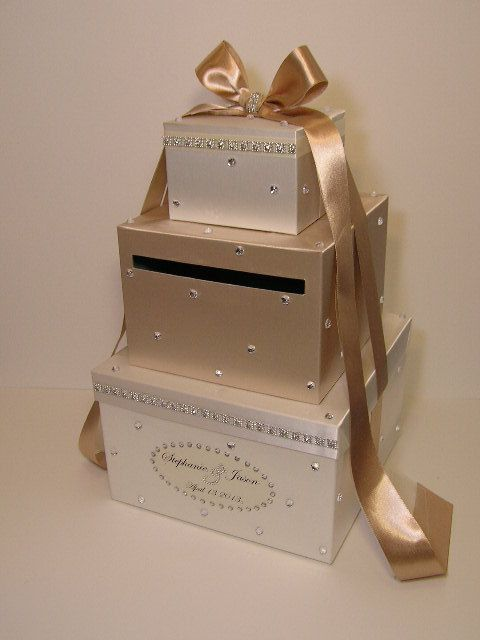 Champagne Wedding Card Box Gift Card Box Money Box by bwithustudio