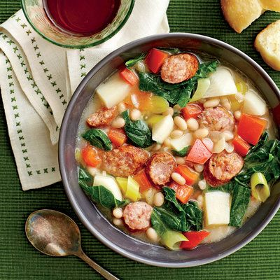 November 2015 Recipes: White Bean, Sausage, and Turnip Green Stew