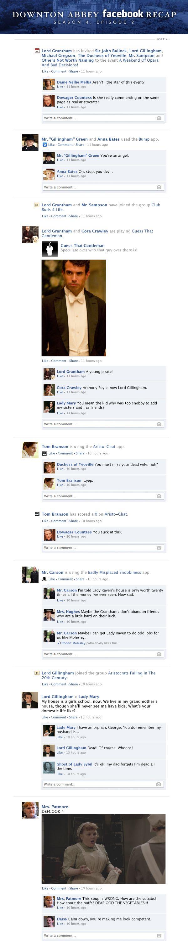 Click through for full recap. Downton Abbey Facebook Recap Season 4 Episode 2   Happy Place