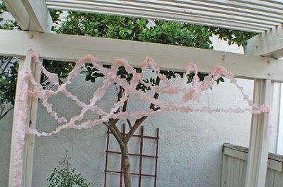 Streamers made with plastic table cloths. Easy, cheap, & beautiful!