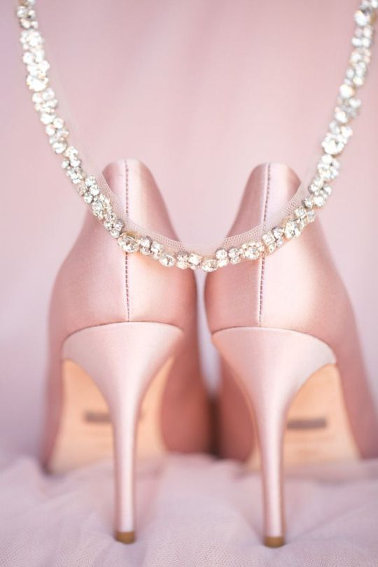 Blush pink satin, diamond studded pumps for the bride.