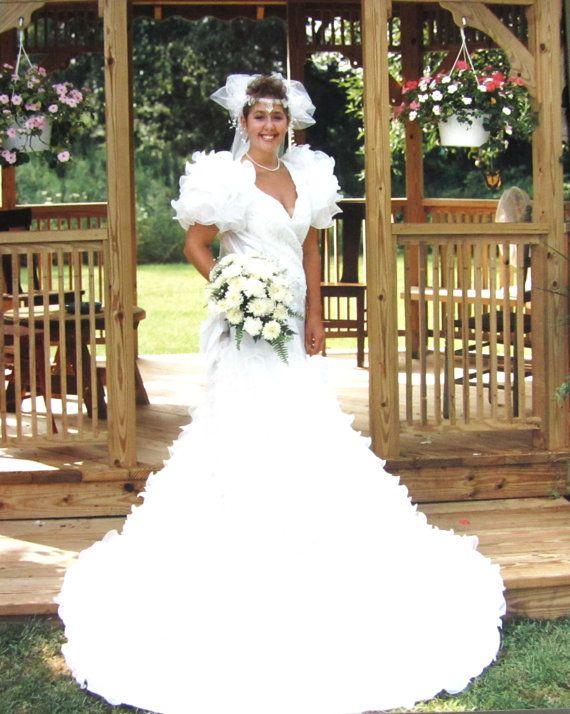 Vintage 1990 Wedding Dress White Satin Sheer Ruffle by wynnspire