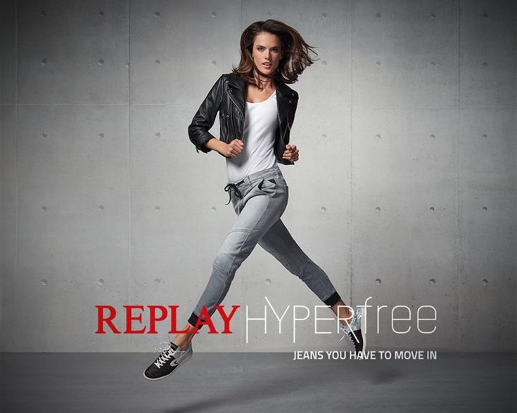 Alessandra Ambrosio gets moving in Replay Jeans Hyperflex 2016 campaign