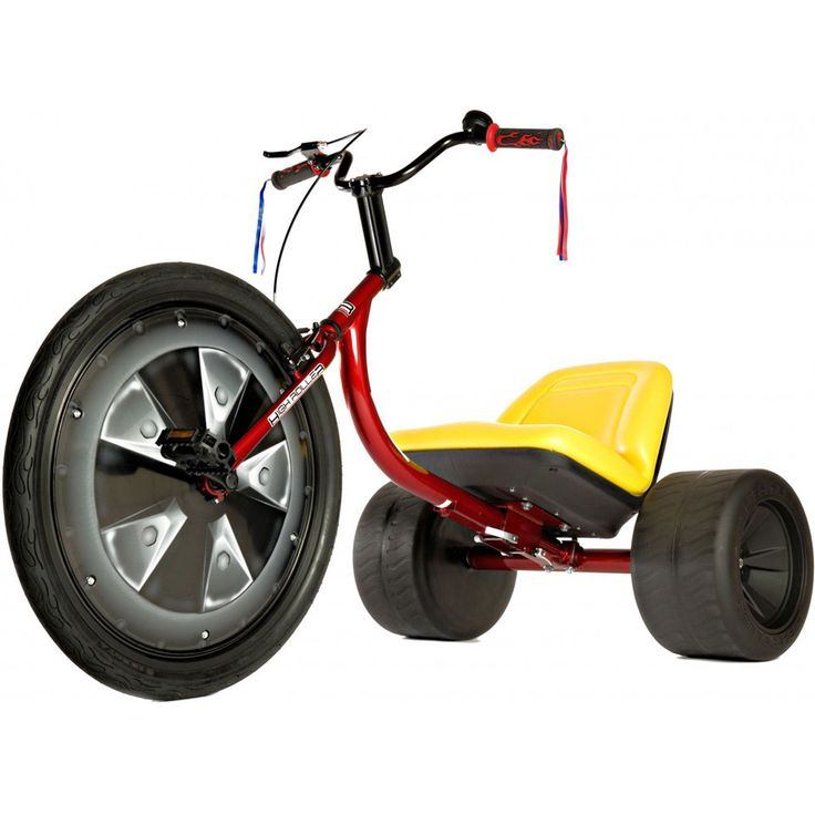 The High Roller Adult Size big wheel drift trike is engineered for power slides, with 26-inch front wheel for traction, 14-inch plastic rear wheels, and custom freewheel hub. Adjustable padded seat, bell, and handle bar tassels come standard.