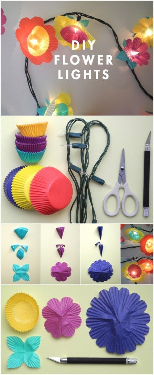 Cupcake Liner lights- Amazing String Lights DIY Decorating Ideas. def want to try this. cute for the summer time!!!