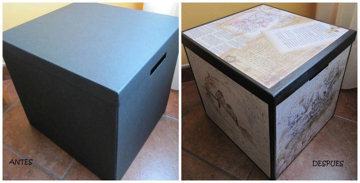 Caja Ikea decorada con papeles de Decopatch