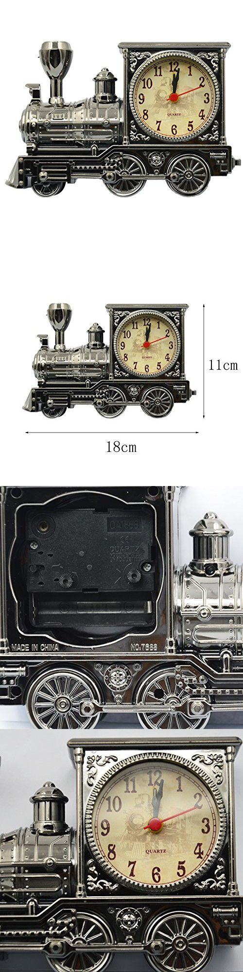 Vintage Retro Train Style Students Alarm Clock Table Desk Time Clock Cool Train Model Home Office Shelf Decoration Novelty Birthday Holiday Children Adults Boys Gift Brown
