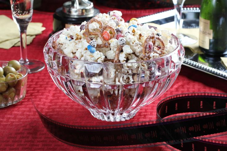 This popcorn mix has a little of everything you love, including candy, pretzels, dried cranberries, and a drizzle of white chocolate. Perfect for movie night!
