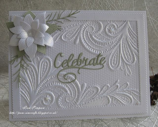 """Good morning friends and visitors...welcome to new followers, thank you for joining my blog. Sharing two cards I made yesterday using my new Crafters Companion """"Ornate Lace"""" embossing folder.. One in"""