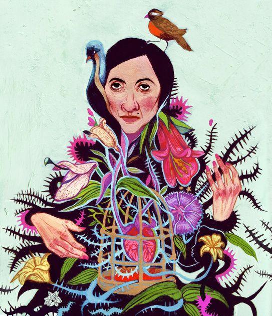 """Violeta Parra en la portada del catálogo de ilustración """"Ilustración a la Chilena""""."""