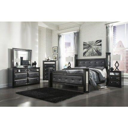 ashley alamadyre queen upholstered poster bedroom set in black by 1stop bedrooms buy bedroom furniture