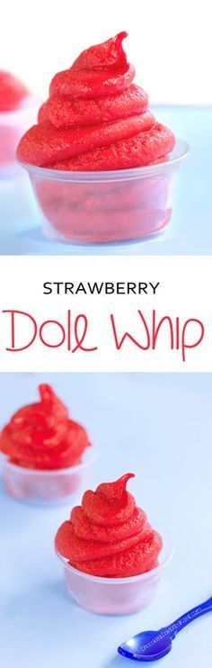 Easy recipe for Disney's popular frozen dessert --- just 5 ingredients: http://chocolatecoveredkatie.com/2015/04/23/strawberry-dole-whip-recipe/