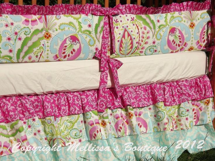 Custom Posh Ruffled with Triple/Three Tiered Crib Skirt Luxury Crib Bedding Set CHOOSE & CUSTOMIZE: Girl Stuff, Triple Three Tiered, Custom Posh, Posh Ruffled, Tiered Crib, Crib Skirts, Baby Stuff
