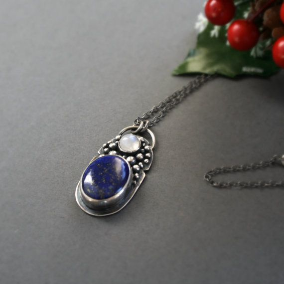 Unique handmade Sterling Silver Necklace with Lapis Lazuli and Moonstone by ErlingeJewelry