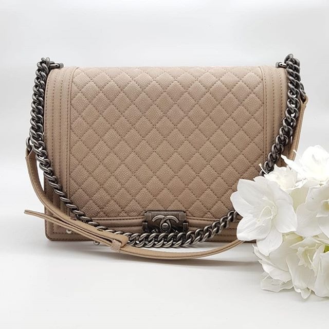 163a3d84b01d Preloved Chanel Boy Large Flap Beige Quilted Distressed Suede Ruthenium  Hardware Serial code starting with 188 measuring bm30cm by 21cm by 7cm.  Full set.