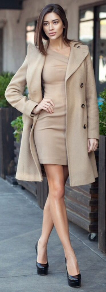 Try pairing a nude coat with a beige bodycon dress for both chic and easy-to-wear look. Choose a pair of black leather pumps to va-va-voom your outfit.  Shop this look for $50:  http://lookastic.com/women/looks/black-leather-pumps-beige-coat-beige-bodycon-dress/5380  — Black Leather Pumps  — Beige Coat  — Beige Bodycon Dress