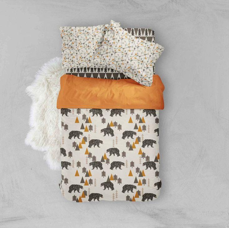 Woodland Toddler Bedding - Bear Arrows Tree - Toddler Duvet Cover - Kids Bedding - Pillow Cases - Kids Duvet Cover - Comforter - Boy Bedding