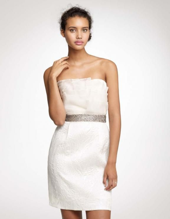 New Trendy Distinct Strapless Column Style Tulle Satin Bridal Dress with A Beaded Sash ,Short Wedding Dresses,