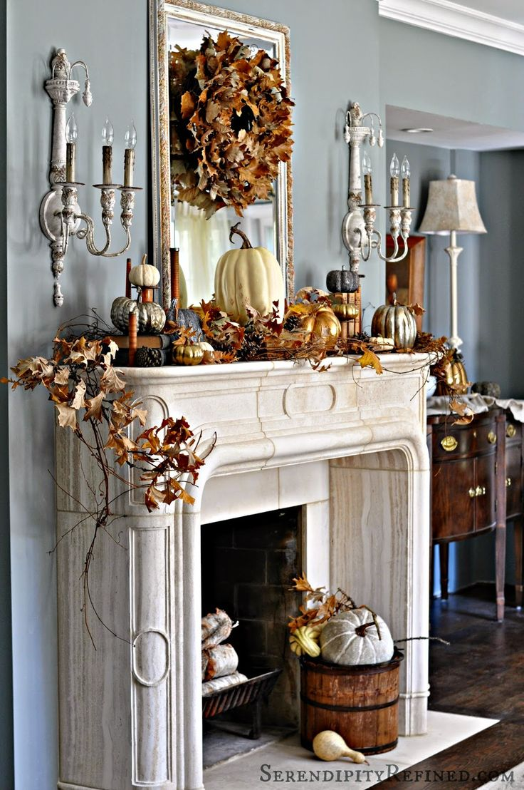 Top 100 mantel decorating ideas for thanksgiving image - Serendipity refined french country fall mantel neutrals naturals and metallics fall fireplace mantelfall mantle