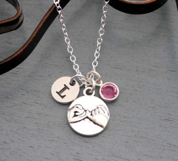 Pinky Promise Necklace, Personalized Pinky Promise Necklace, Best Friends Necklace, Initial Birthstone Necklace, Sisters Jewelry, Custom