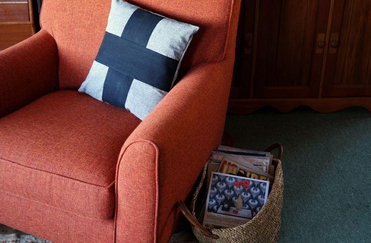 gray and black linen chair cushion