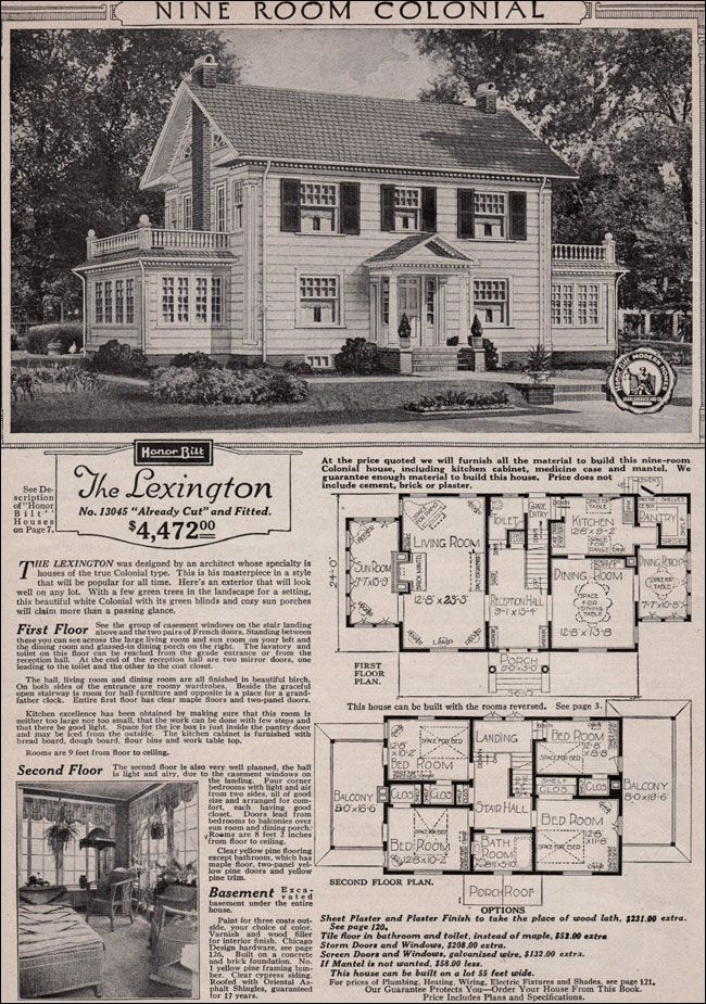 original sears kit colonial style home | Colonial Revival - 1923 Sears Kit House - Classic side gable with sun ...
