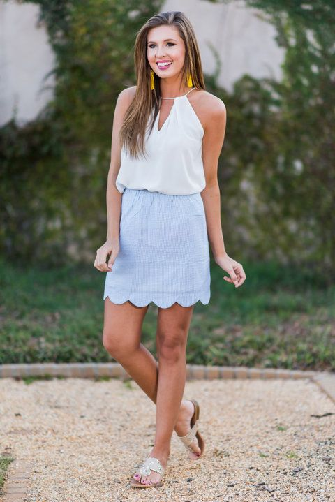 """Preppy Perfection Skirt, Baby Blue""This skirt is most certainly preppy perfection! It's not only seersucker but the hemline is also scalloped! We'll pause to give you time to swoon! #newarrivals #shopthemint"