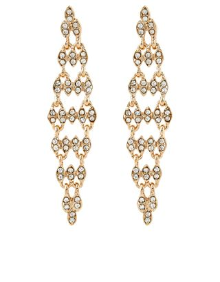 Go for stand-out glamour with our Taylor slinky earrings, crafted from gold-tone metal. This striking pair is inlaid with crystal gems that sparkle as they c...