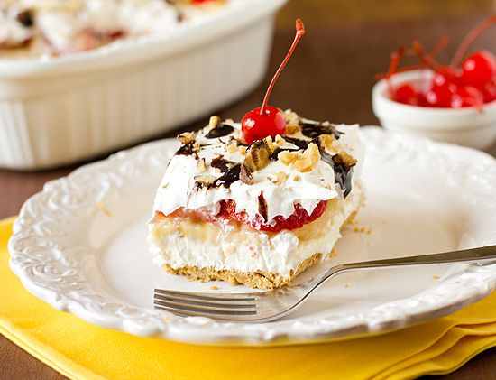 No-Bake Banana Split Dessert by Brown Eyed Baker! Making this today, low fat version of course!! Yum!