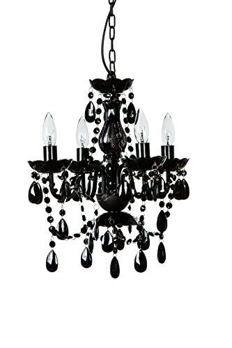 """The Original Gypsy Color 4 Light Small Black Chandelier H18"""" W15"""" Black Metal Frame with Black Acrylic Crystals"""