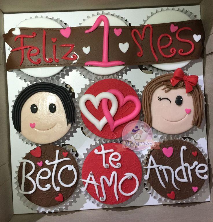 Cupcakes mensaje. Cupcakes de amor. Cupcakes corazones. Cupcakes aniversario