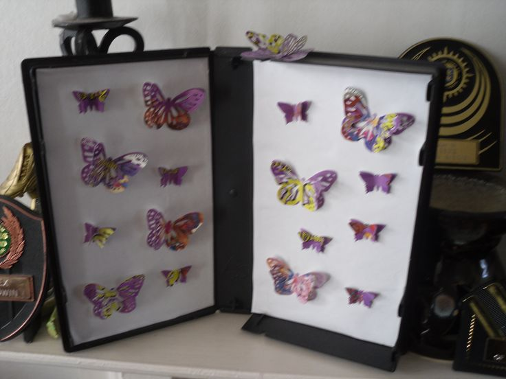 This butterfly collection is cut from Scooby-Doo video inlay using Martha Stewart monarch punch and given a 3D effect by gluing 2 together, then mounted in a video box. One of the butterflies has escaped and is free to rest on the top of the box, looking down at the others.