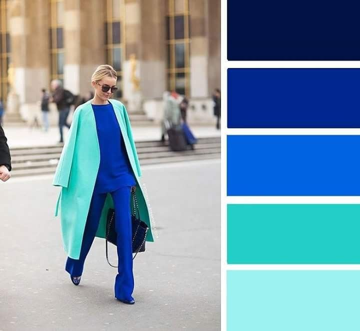 Aqua Blue And Bright Blue Blue Color Combinations Colour Combinations Fashion Royal Blue Outfits