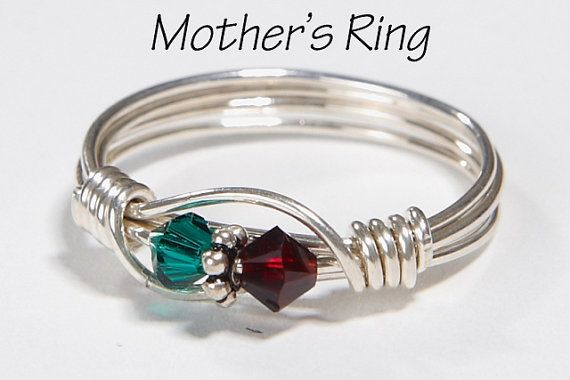 Mother's Ring 2 Birthstones: Sterling Silver Mother's Family Ring with  Two Swarovski Birthstone Crystals