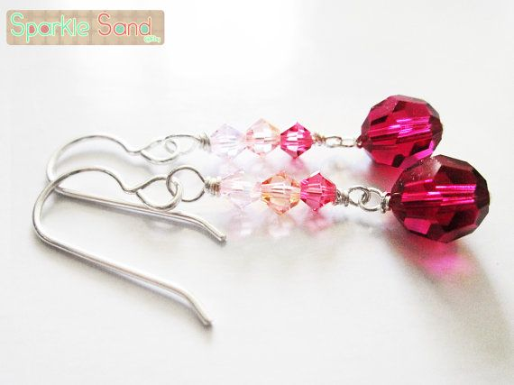 Deep ruby red Swarovski earring pink and red by SparkleSand, $15.00