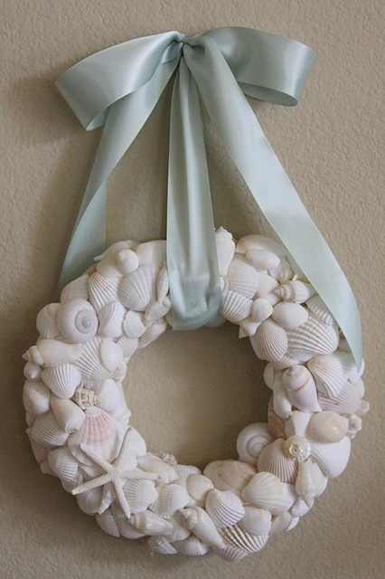 Seashell wreath-- This would be too heavy, but maybe some burlap, driftwood, or fern filler would lighten it.