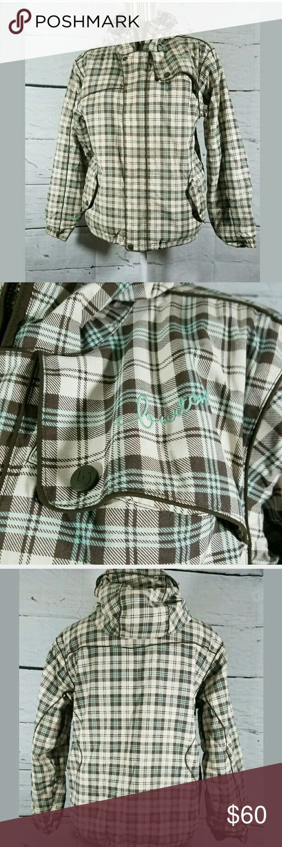 Women's Burton Ski Jacket Coat Plaid Size small, but tag ripped out.  Coat in excellent used condition.   21 inches pit to pit.  24 inches long.   LB Burton Jackets & Coats Puffers