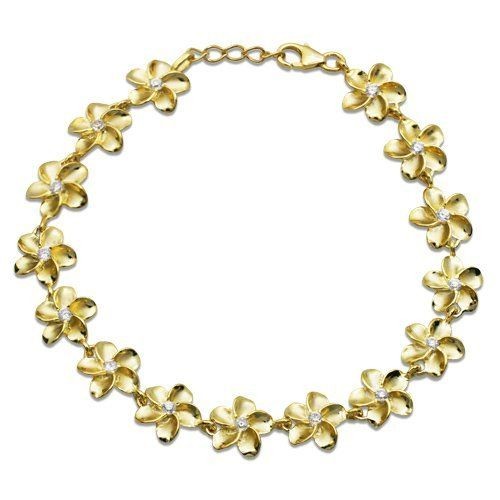 Plumeria Bracelet with 14K Gold Finish and CZs - 10mm Honolulu Jewelry Company. $95.00. Save 50% Off!