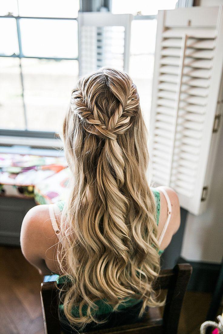 Gorgeous Bridal Half-Up Do Plaits Curls Braids Wedding Hair Photo Credit Samie Lee Photography
