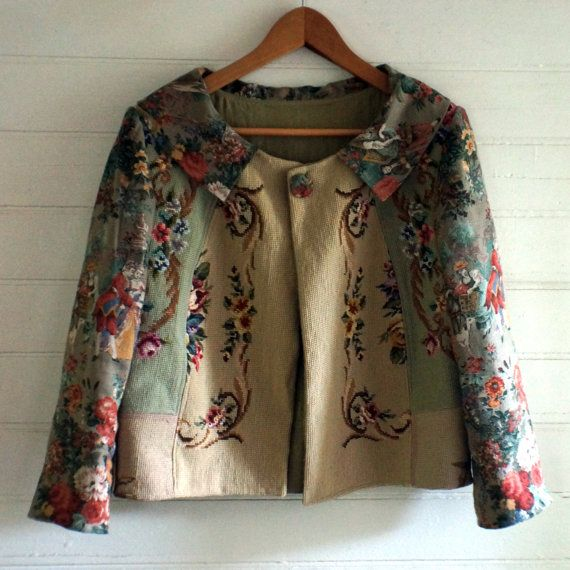 One of a kind jacket made from repurposed vintage by pinkleandco