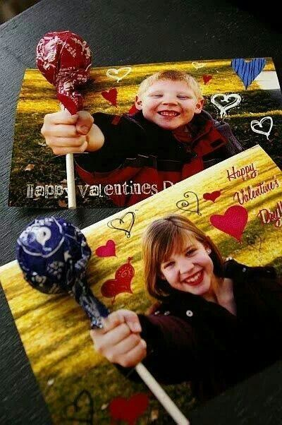 Take a picture of your child holding out a fist toward the camera. Cut slit right above and below the fist. Put favorite sucker in the slit. How creative for Valentines Day!!