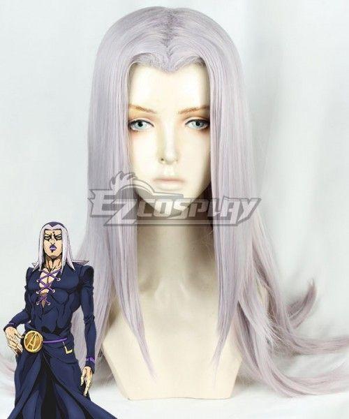 JoJo s Bizarre Adventure  Vento Aureo Golden Wind Anime Edition Leone  Abbacchio Grey Cosplay Wig  Aureo a3c3dac28fcd