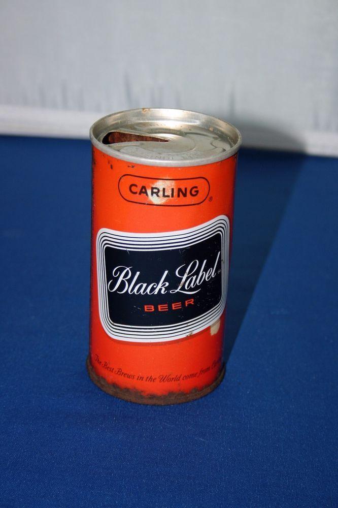 Unique Carling Black Label Beer Can Zip Top Pull Tab Steel Beer Can Empty Open #CarlingBlackLabelBeer