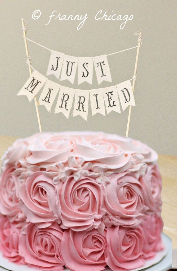 Just Married Cake topper - Love is Sweet - Valentines Cake topper - WEDDING CAKE TOPPER on Etsy, $16.99