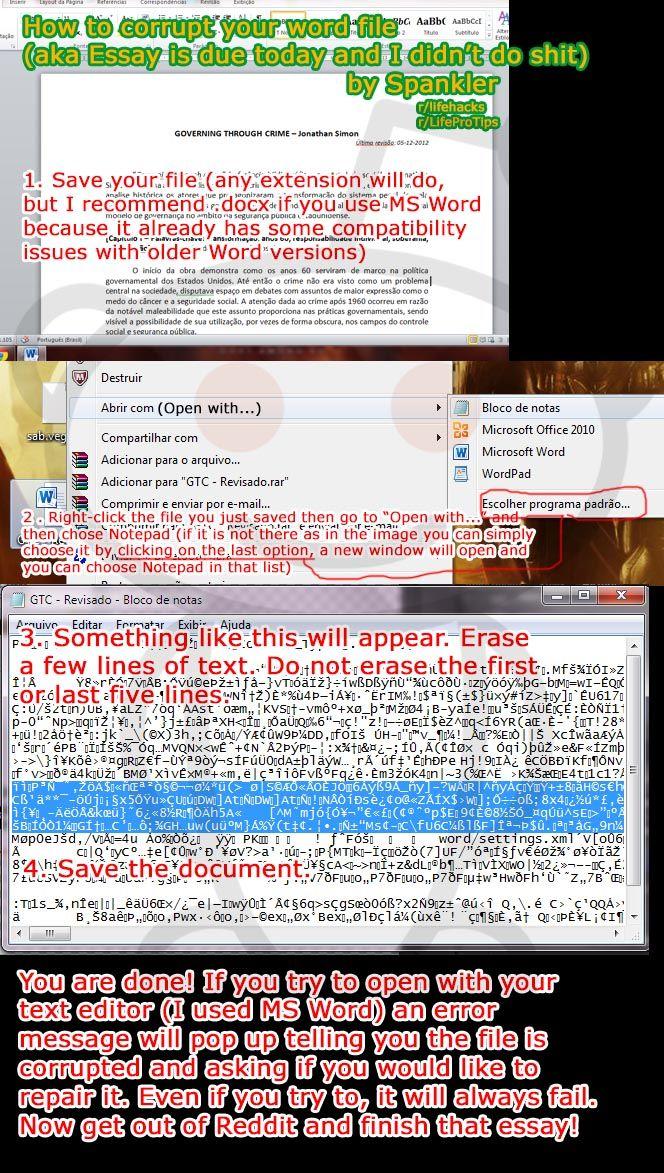 Corrupt essay file