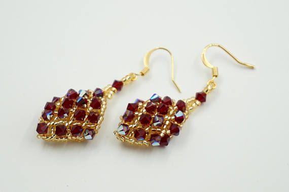 swarovski siam crystal earrings dangle handmade earrings