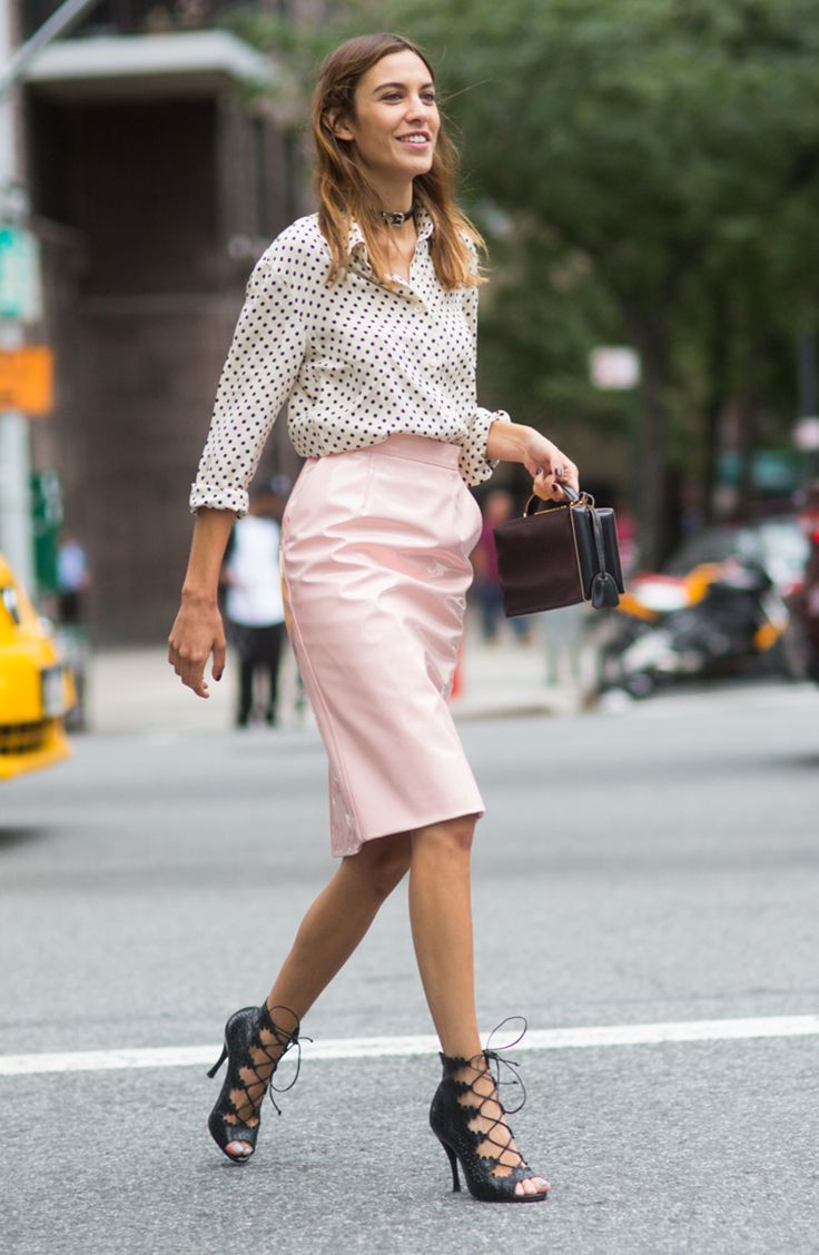 Ladylike with an edge + strappy heels: Alexa Chung and the best street style from NYFW