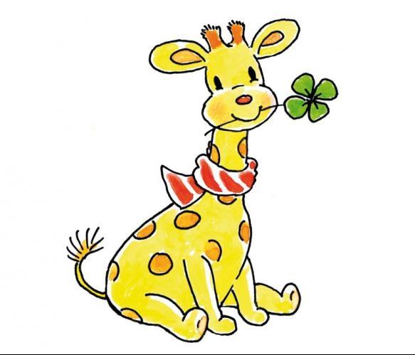 Fotobehang Sweet Collectie - Lucky Giraffe - FotobehangFactory.nl